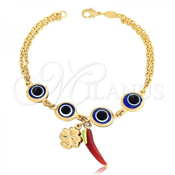 Gold Layered 03.32.0193.07 Charm Bracelet, Greek Eye and Four-leaf Clover Design, with Multicolor Crystal, Multicolor Polished Finish, Golden Tone