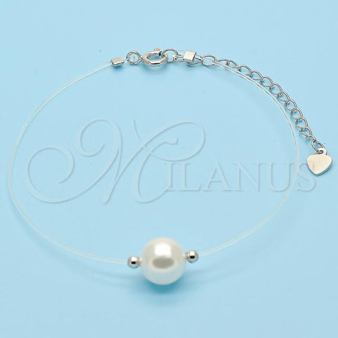 Sterling Silver 03.369.0014.07 Fancy Bracelet, with Ivory Pearl, Polished Finish, Rhodium Tone