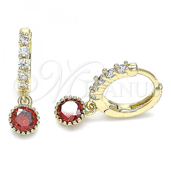 Gold Layered 02.213.0044.7 Dangle Earring, with Garnet and White Cubic Zirconia, Polished Finish, Golden Tone
