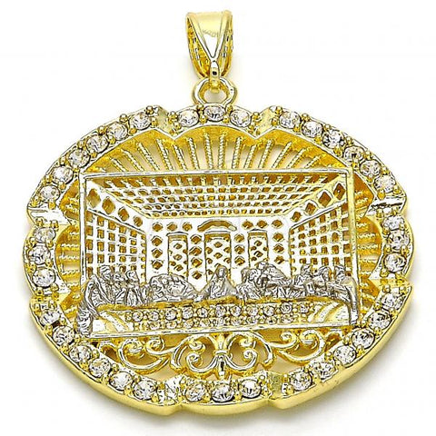 Gold Layered 05.253.0050 Religious Pendant, with White Crystal, Polished Finish, Two Tone