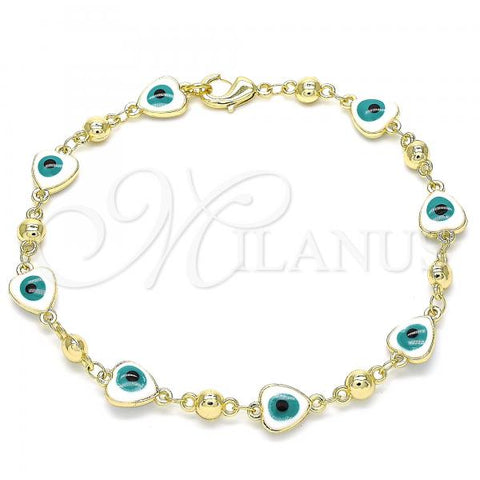 Gold Layered 03.213.0037.08 Fancy Bracelet, Greek Eye and Heart Design, White Enamel Finish, Golden Tone