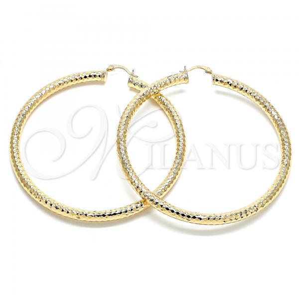 Gold Layered 02.170.0312.80 Extra Large Hoop, Hollow Design, Diamond Cutting Finish, Golden Tone