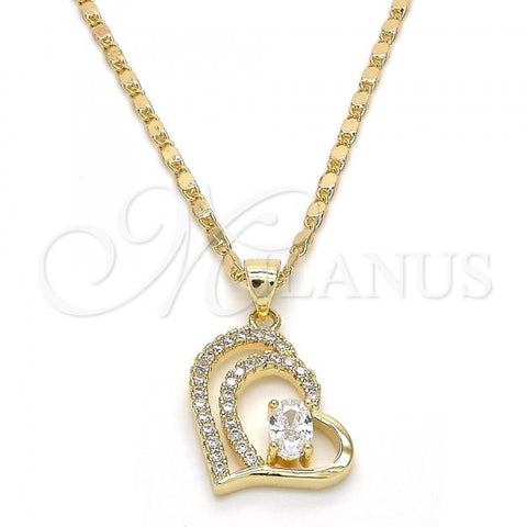 Gold Layered 04.195.0021.20 Fancy Necklace, Heart Design, with White Cubic Zirconia and White Crystal, Polished Finish, Golden Tone
