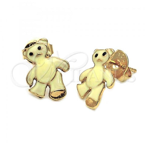 Gold Layered Stud Earring, Teddy Bear Design, Golden Tone
