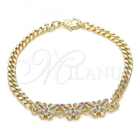 Gold Layered 03.233.0043.08 Fancy Bracelet, Butterfly Design, with Multicolor Cubic Zirconia, Polished Finish, Golden Tone