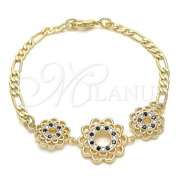 Gold Layered 03.233.0046.08 Fancy Bracelet, Flower Design, with Black and White Cubic Zirconia, Polished Finish, Golden Tone