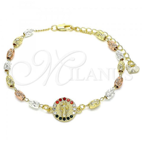 Gold Layered 03.253.0057.1.07 Fancy Bracelet, San Benito Design, with Multicolor Crystal, Diamond Cutting Finish, Tri Tone