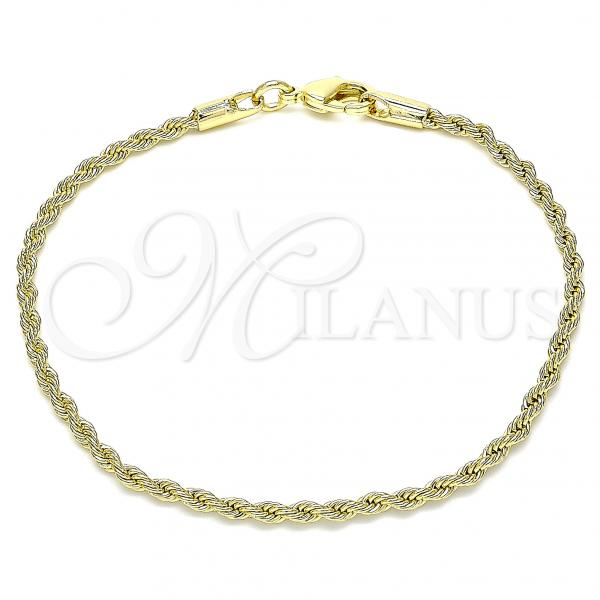 Gold Layered 04.213.0136.08 Basic Bracelet, Rope Design, Polished Finish, Golden Tone