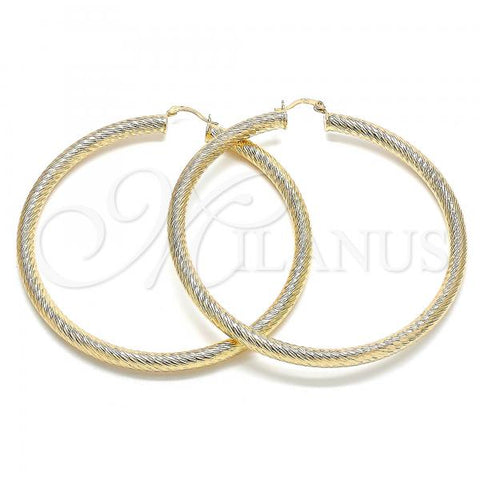 Gold Layered 02.170.0310.80 Extra Large Hoop, Hollow Design, Diamond Cutting Finish, Golden Tone