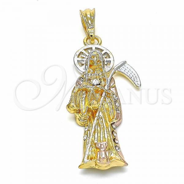 Gold Layered 05.351.0040 Religious Pendant, Santa Muerte and Owl Design, with White Crystal, Polished Finish, Tri Tone