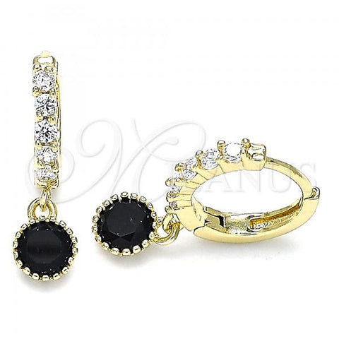 Gold Layered 02.213.0044.6 Dangle Earring, with Black and White Cubic Zirconia, Polished Finish, Golden Tone