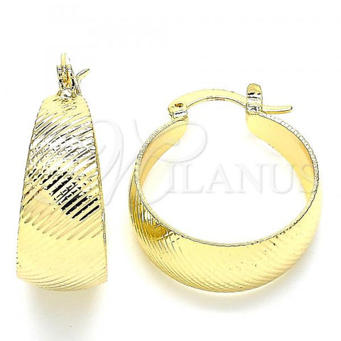 Gold Layered 02.170.0361.20 Small Hoop, Diamond Cutting Finish, Golden Tone