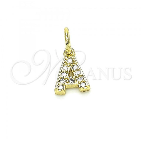 Gold Layered 05.341.0021 Fancy Pendant, Initials Design, with White Cubic Zirconia, Polished Finish, Golden Tone