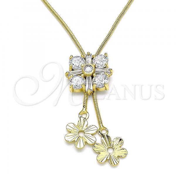 Gold Layered 04.347.0009.20 Fancy Necklace, Flower Design, with White Cubic Zirconia, Polished Finish, Golden Tone