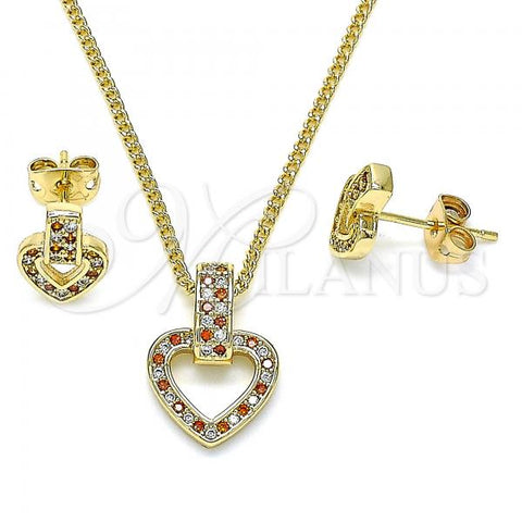 Gold Layered 10.342.0011.2 Earring and Pendant Adult Set, Heart Design, with Garnet and White Micro Pave, Polished Finish, Golden Tone