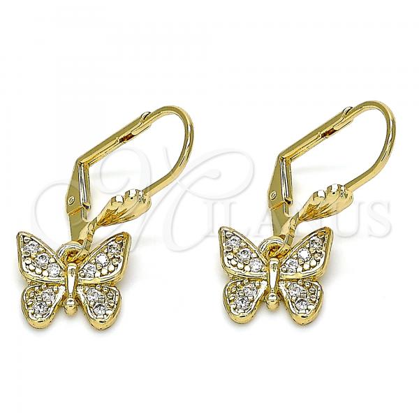Gold Layered 02.210.0344 Dangle Earring, Butterfly Design, with White Micro Pave, Polished Finish, Golden Tone