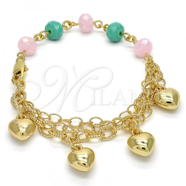 Gold Layered 03.179.0036.07 Charm Bracelet, Heart Design, Multicolor Resin Finish, Golden Tone