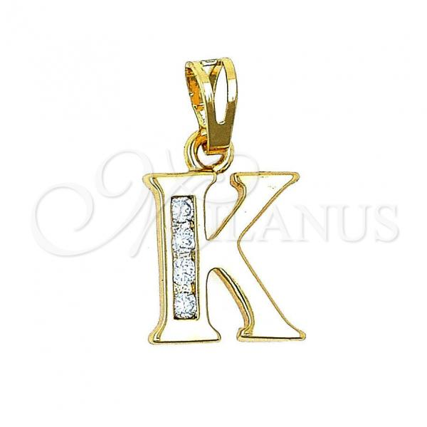 Gold Layered 05.26.0023 Fancy Pendant, Initials Design, with White Cubic Zirconia, Polished Finish, Golden Tone