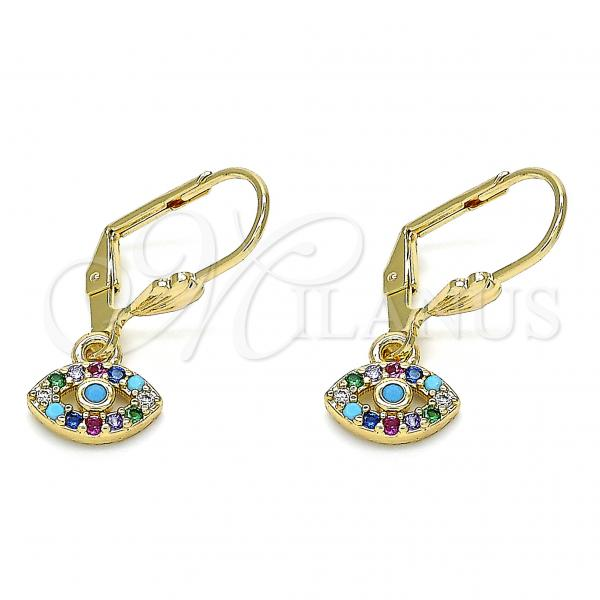 Gold Layered 02.210.0343.1 Dangle Earring, with Multicolor Micro Pave, Polished Finish, Golden Tone