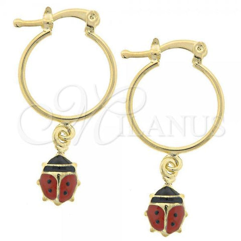 Gold Layered 02.32.0320 Small Hoop, Ladybug Design, Multicolor Enamel Finish, Golden Tone