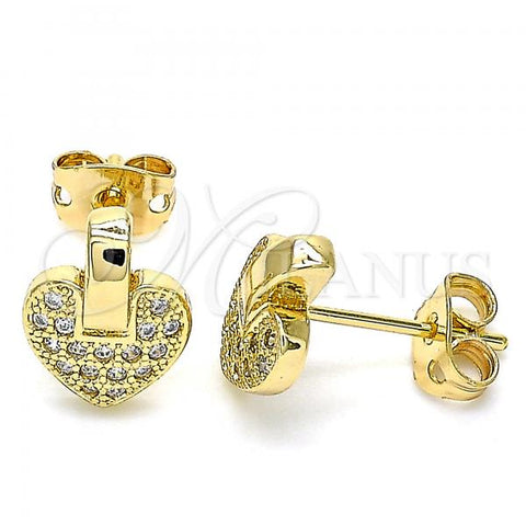 Gold Layered 02.342.0095 Stud Earring, Heart Design, with White Micro Pave, Polished Finish, Golden Tone