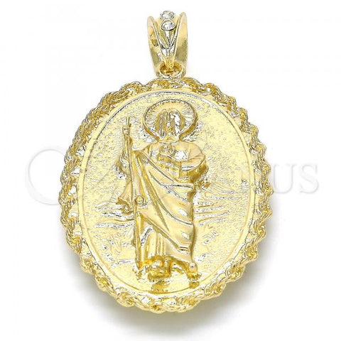 Gold Layered 05.213.0010 Religious Pendant, Guadalupe and San Judas Design, Polished Finish, Golden Tone