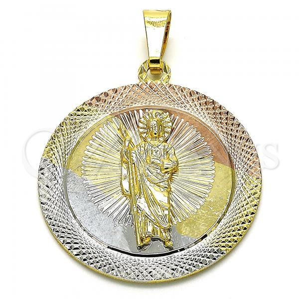 Gold Layered 05.253.0062 Religious Pendant, San Judas Design, Diamond Cutting Finish, Tri Tone