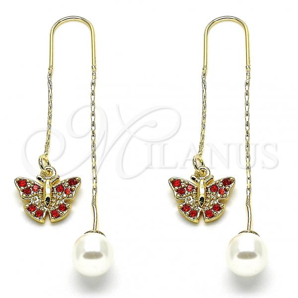 Gold Layered 02.253.0005 Threader Earring, Butterfly Design, with Garnet Crystal, Polished Finish, Golden Tone