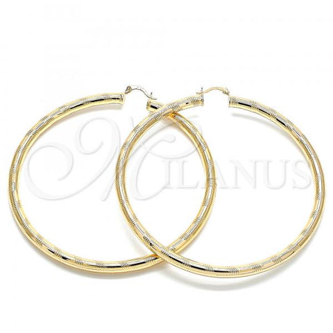 Gold Layered 02.170.0309.90 Extra Large Hoop, Hollow Design, Diamond Cutting Finish, Golden Tone
