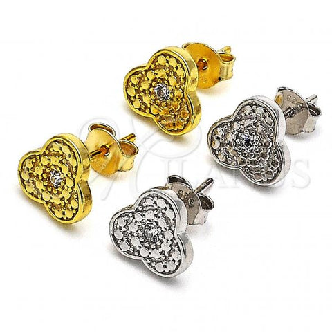 Sterling Silver Stud Earring, with Cubic Zirconia, Golden Tone