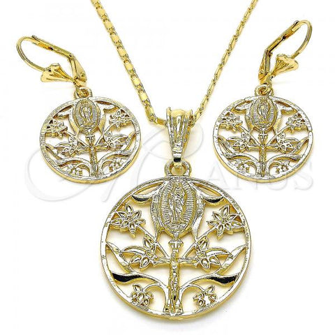 Gold Layered 10.351.0009 Earring and Pendant Adult Set, Guadalupe and Crucifix Design, Polished Finish, Golden Tone