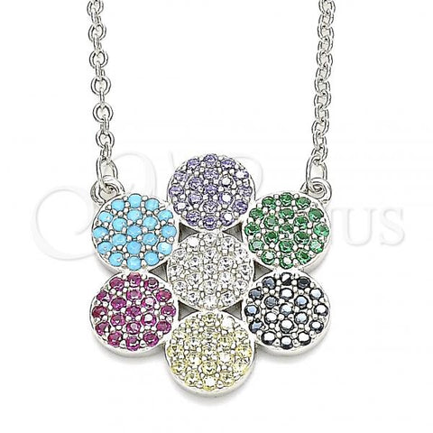 Sterling Silver 04.336.0223.16 Fancy Necklace, with Multicolor Cubic Zirconia, Polished Finish, Rhodium Tone