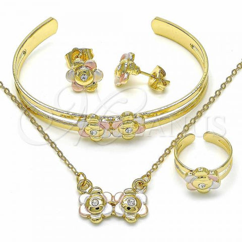 Gold Layered 06.361.0015 Necklace, Bracelet, Earring and Ring, Flower Design, with White Crystal, Polished Finish, Tri Tone