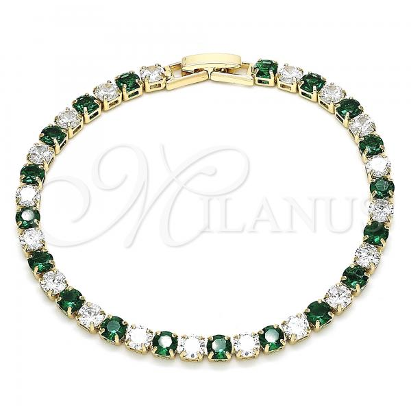Gold Layered 03.130.0002.3.07 Tennis Bracelet, with Green and White Cubic Zirconia, Polished Finish, Golden Tone