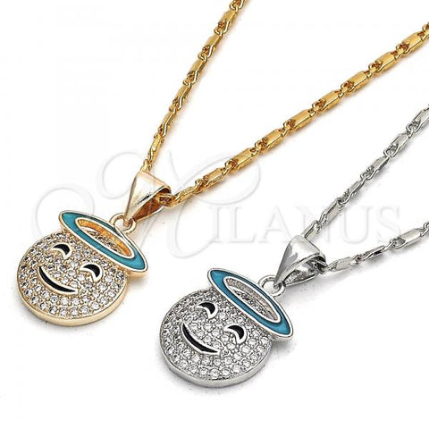 Gold Layered Pendant Necklace, Smile Design, with Cubic Zirconia, Golden Tone