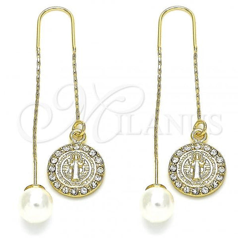 Gold Layered 02.253.0006 Threader Earring, San Benito Design, with White Crystal, Polished Finish, Golden Tone