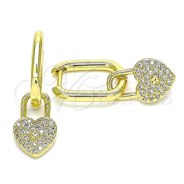 Gold Layered 02.341.0040 Dangle Earring, Heart and Star Design, with White Micro Pave, Polished Finish, Golden Tone