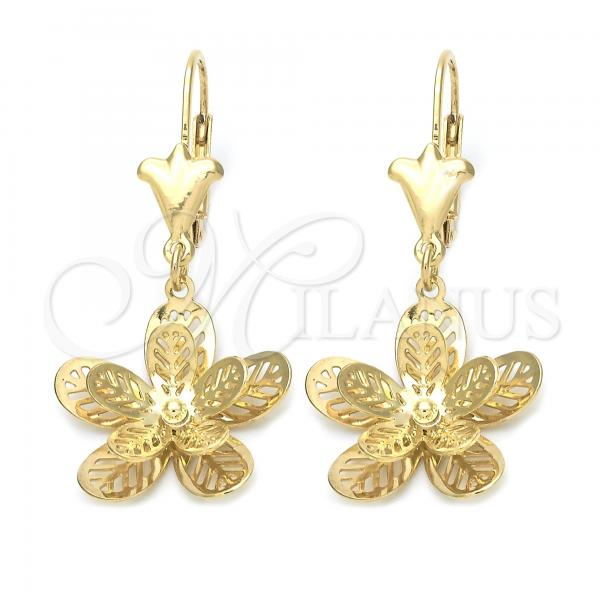 Gold Layered 089.014 Dangle Earring, Flower Design, Golden Tone