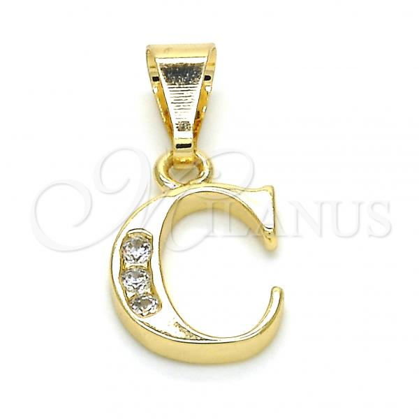 Gold Layered 05.26.0014 Fancy Pendant, Initials Design, with White Cubic Zirconia, Polished Finish, Golden Tone