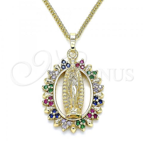 Gold Layered 04.284.0054.1.20 Pendant Necklace, Guadalupe Design, with Multicolor Micro Pave, Polished Finish, Golden Tone