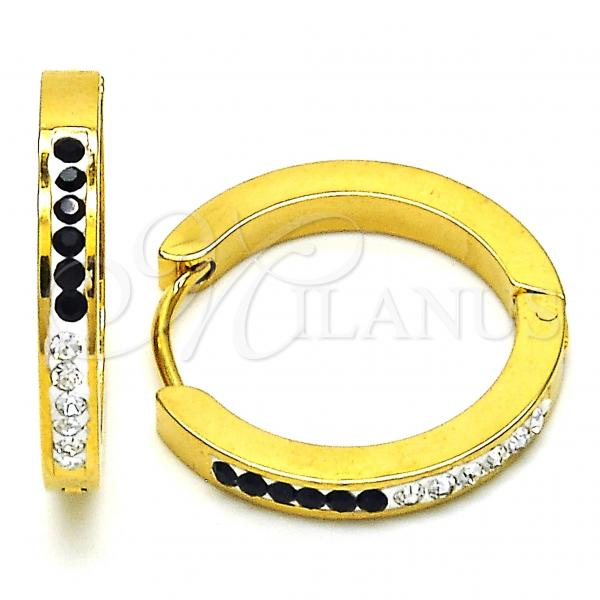 Stainless Steel 02.216.0048.20 Huggie Hoop, with Black and White Crystal, Polished Finish, Golden Tone
