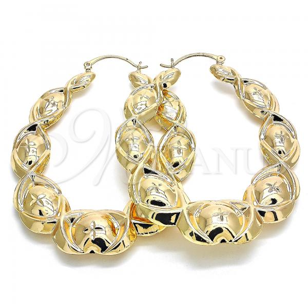Gold Layered 5.149.001.55 Large Hoop, Hugs and Kisses and Hollow Design, Diamond Cutting Finish, Golden Tone