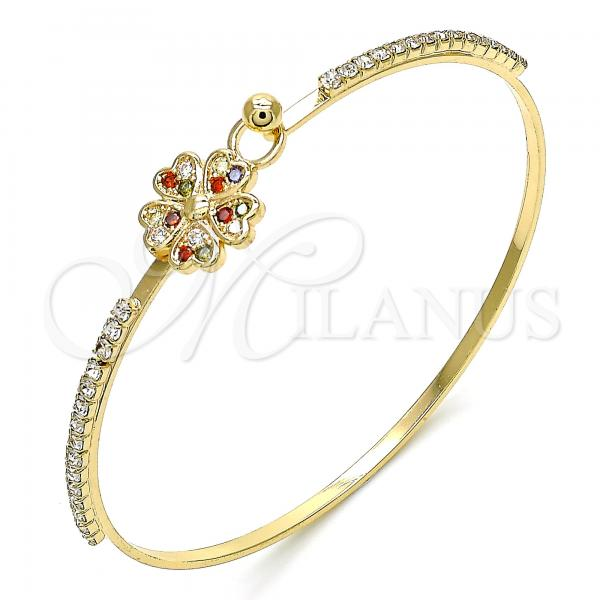 Gold Layered 07.193.0024.1.04 Individual Bangle, Flower and Heart Design, with Multicolor Micro Pave and White Crystal, Polished Finish, Golden Tone (02 MM Thickness, Size 4 - 2.25 Diameter)