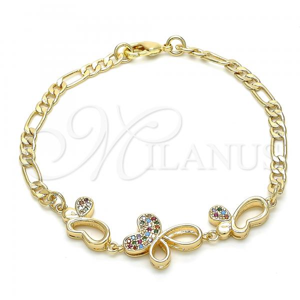 Gold Layered 03.233.0039.08 Fancy Bracelet, Butterfly Design, with Multicolor Cubic Zirconia, Polished Finish, Golden Tone