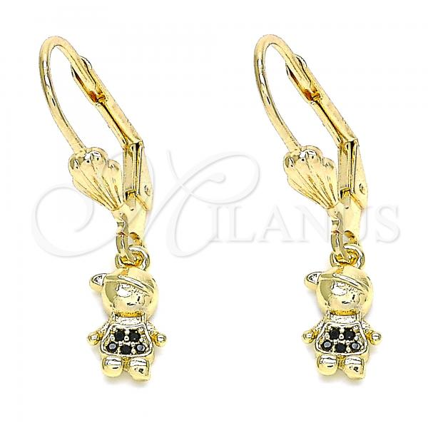 Gold Layered 02.316.0065.2 Dangle Earring, Little Boy Design, with Black Micro Pave, Polished Finish, Golden Tone