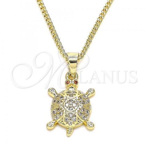 Gold Layered 04.344.0027.20 Pendant Necklace, Turtle Design, with White and Garnet Micro Pave, Polished Finish, Golden Tone