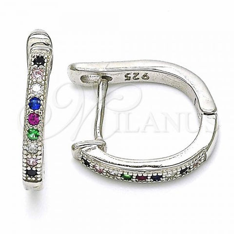Sterling Silver 02.332.0056.15 Huggie Hoop, with Multicolor Cubic Zirconia, Polished Finish, Rhodium Tone