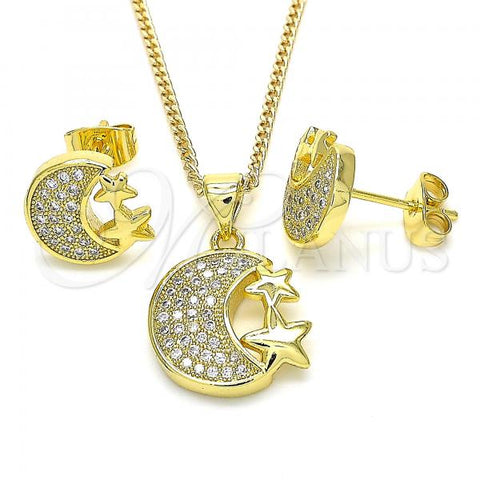 Gold Layered 10.199.0119 Earring and Pendant Adult Set, Moon and Star Design, with White Micro Pave, Polished Finish, Golden Tone