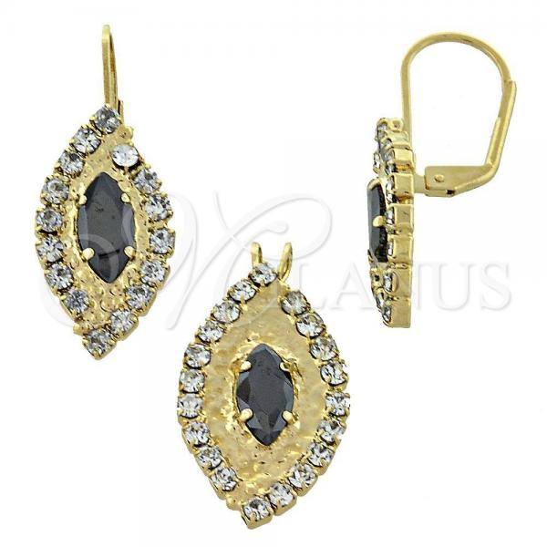 Gold Layered 5.057.005 Earring and Pendant Adult Set, with  Cubic Zirconia, Golden Tone