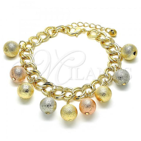 Gold Layered 03.331.0032.08 Charm Bracelet, Ball and Rattle Charm Design, Matte Finish, Tri Tone